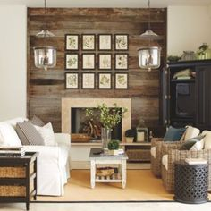 recycled barn wood fireplace