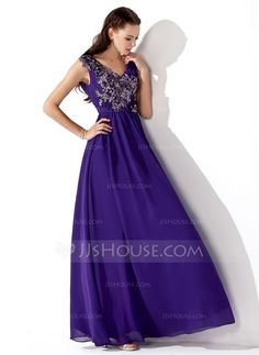A-Line/Princess V-neck Floor-Length Chiffon Prom Dress With Ruffle Beading Appliques (018013105) - JJsHouse