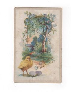 Easter Greetings. Antique postcard with chick, tree. Collectible ephemera card embellishment scrapbook collage. by PickleladyPapers on Etsy