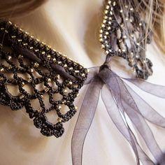 Black collar necklace crochet  collar bib necklaces by selenayy