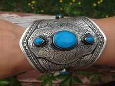 Turquoise Cuff Afghan Vintage Collection Bracelet. Kuchi Cuff bracelet.Handcrafted-Afghan Traditionl Jewellery by JewelsofNomads on Etsy https://www.etsy.com/listing/232310184/turquoise-cuff-afghan-vintage-collection
