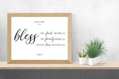 Bless the food before us prayer sign   Christian wall art, kitchen signs, kitchen print poster, dining room wall decor art, Christian gifts by SmallMiraclePrints on Etsy