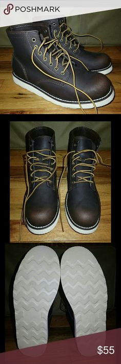 American Eagle Dark Brown Men?s Boots 10 ℹ️ Worn once, excellent condition, no damage. Genuine leather upper, rubberlon outsole.  👍 Smoke-free, pet-free household.   🚫 No trades/swaps!  🚫 No holds!  🚫 No low-balling!  🚫 No PayPal!   ✔ Reasonable offers welcomed! Please use the offer button so I know you are serious about the item! I will not respond to price negotiations via comments.   😜 Happy poshing! 😜 American Eagle Outfitters Shoes Boots