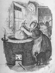 Cook making Christmas pudding ~ George Cruikshank - they really did use to boil the puddings in a cloth in the laundry!