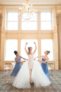 This getting-ready photo of the Ballerina Bride with her girls are absolutely adorable!