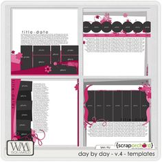 Digital Scrapbook Templates, Day by Day - V.4 - Templates