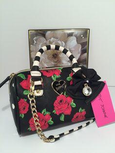 NWT Betsey Johnson Mini Barrel Black Purse Bag Floral Red Roses. Starting at $35