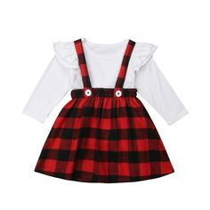 White Ruffle Red Plaid Overall Dress from kidspetite.com! Adorable & affordable baby, toddler & kids clothing. Shop from one of the best providers of children apparel at Kids Petite. FREE Worldwide Shipping to over 230+ countries ✈️ www.kidspetite.com #clothing #girl #toddler #dresses