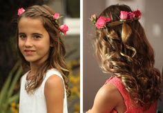Easy to do flower girl hairstyles for weddings & other special occasions.