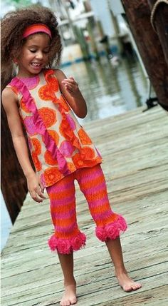 Amazon.com: Zaza Couture Girls 7-10 Orange Hot Pink Tangerine Capri set, 8: Clothing