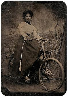 African American women on early bicycle. How they pedaled in those skirts and petticoats is amazing.