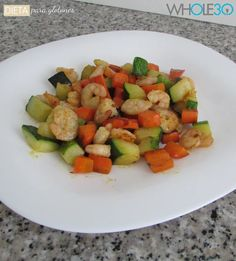 Salteado de verduritas con gambas – Dieta para glotones Whole30, Ratatouille, Fruit Salad, Diet Ideas, Ethnic Recipes, Blog, Sauteed Vegetables, Stir Fry, Juices