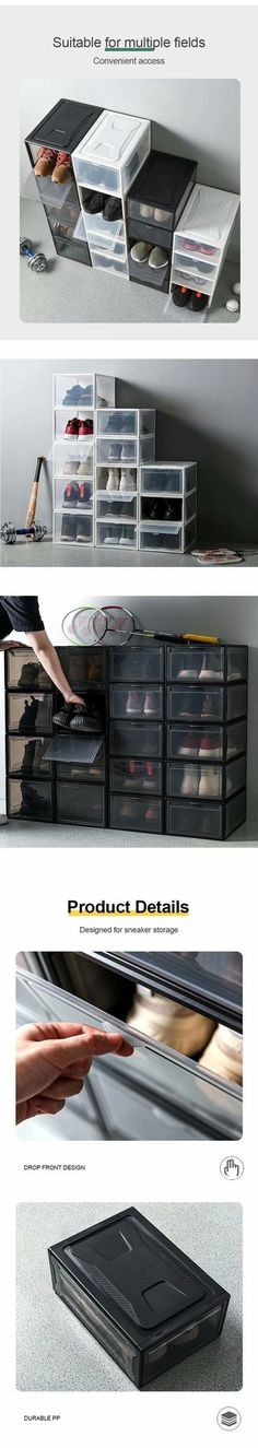 Transparent Drawer Shoes Box – Ohh My Dealz Intelligent Technology, Home Organization Hacks, Organizing, Storage Drawers, Shoe Box, Home Projects, Stuff To Buy, Shoes, Storage Ideas
