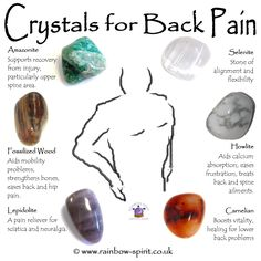 Rainbow Spirit crystal shop crystal set of tumble stones with healing properties to treat back pain and sciatica