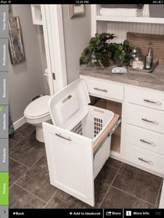 Bathroom idea- hamper storage. Love this idea! Hamper hidden, but right where it should be--in the bathroom! by ammieiscool by jeannie