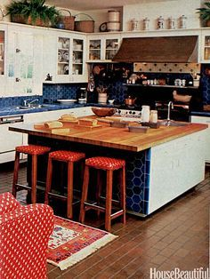 1980s Interior Design | ... Blue Country Kitchen - 1980s Interior Design Trends - House Beautiful