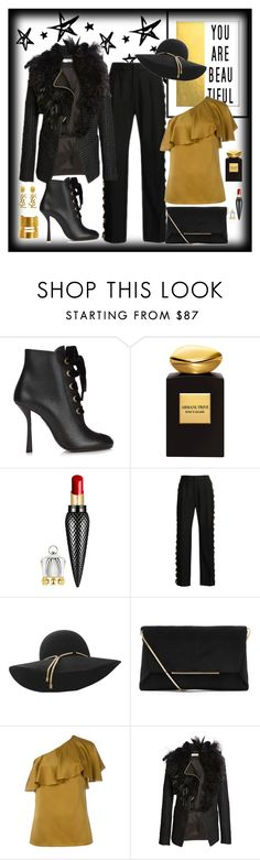 """""""Lanvin  Head to Toe Elegance"""" by romaboots-1 ❤ liked on Polyvore featuring Lanvin, Giorgio Armani, Christian Louboutin and Yves Saint Laurent"""