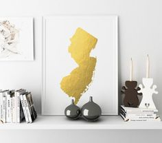 Printable New Jersey State Map Wall Art New Jersey by TheCasaNova