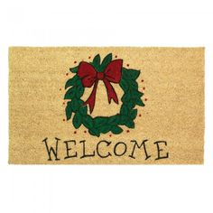 Christmas wreath welcome mat $17.50  #homedecor #holdiays #christmasdecor  Place this adorable welcome mat at your front steps to welcome everybody this holiday season.