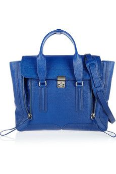 3.1 Phillip Lim The Pashli large shark-effect leather trapeze bag COBALT BLUE.