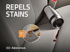 You have enough to worry about. Let the YES Essentials™ stain, odor, and static repellent fabric in the Kia Sedona worry about fighting the stains.