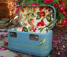 Upcycled Vintage Train Case Italian Floral Fabric Hand Painted Song Lyrics I Wear a Demeanor Made of Bright Pretty Things