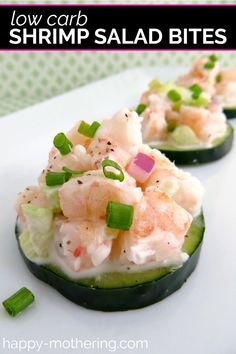 Are you looking for a simple low carb appetizer recipe for potlucks and parties? Learn how to make Shrimp Salad Cucumber bites in this easy recipe. These healthy little bites are cold, yummy and keto friendly! No Cook Appetizers, Appetizer Dishes, Seafood Appetizers, Food Dishes, Seafood Recipes, Appetizer Recipes, Delicious Appetizers, Dishes Recipes, Cooking Recipes