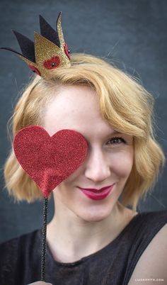 DIY Queoon of Hearts Glitter Crown for Halloween from MichaelsMakers Lia Griffith