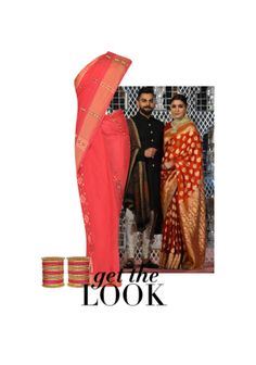 'Anushka Sharma' by me on Limeroad featuring Red Sarees with Red Bangles