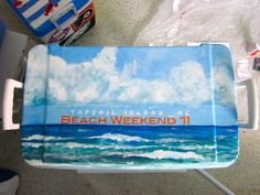 This frat cooler lid is amazing! Fraternity Coolers, Frat Coolers, Fraternity Formal, Sorority Canvas, Sorority Paddles, Sorority Recruitment, Sorority Life, Cute Crafts, Diy And Crafts