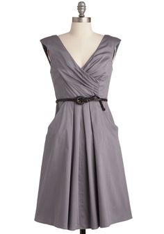 Occasion by Me Dress in Charcoal - Cotton, Mid-length, Variation, Grey, Solid, Pockets, Belted, Ruching, Casual, A-line, V Neck, Cap Sleeves