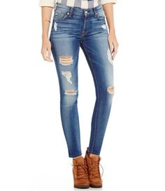 7 for All Mankind Destructed Ankle Skinny Jeans #Dillards