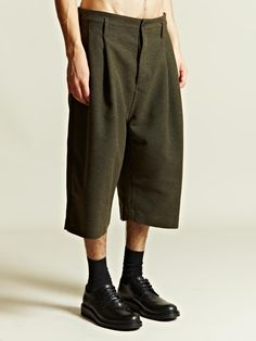 Cool length guys shorts - Ann Demeulemeester Men's Front Pleat Shorts