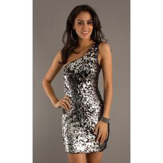 Dress, Short One Shoulder Black & Silver Sequin Dress - Simply Dresses via Polyvore