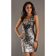 Busty Short Black Dresses | Short One Shoulder Black & Silver ...