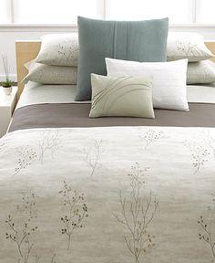 Calvin Klein Home Briar Bedding Collection - Bedding, organic natural motif sage green neutrals