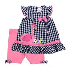 This Navy Gingham Seersucker Swan Bow-Accent Ruffle-Sleeve Tunic & Pink Bike Shorts - Newborn, Infant & Toddler is perfect! Girls Summer Outfits, Little Girl Outfits, Cute Outfits For Kids, Toddler Fashion, Girl Fashion, Pink Bike, My Baby Girl, Baby Girls, Cute Baby Clothes