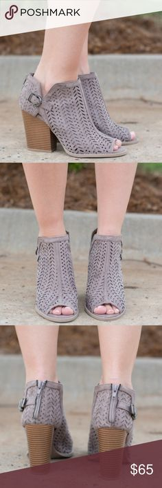Taupe Bootie Adorable open toe ankle bootie. These are made from a faux suede. Flattering back zipper and a buckle design on the side of the ankle. High 4' heel. So cute! Shoes Ankle Boots & Booties