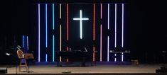Framed Light Stage Design from Woodridge Baptist Church in Kingwood, TX | Church Stage Design Ideas