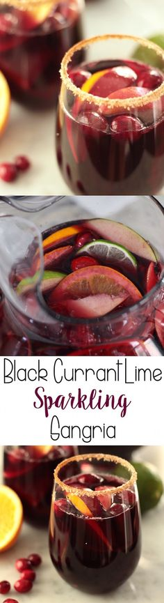 Black Currant Lime Sparkling Sangria is the perfect holiday party drink!  ad