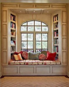 Beautiful book nook framed by wood molding