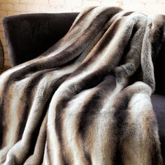 I pinned this Faux Chinchilla Throw in White & Brown from the Fabulous Furs event at Joss and Main!