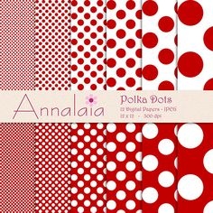 Digital Paper Pack Dark Red and White Polka Dots by annalaia2, $3.00