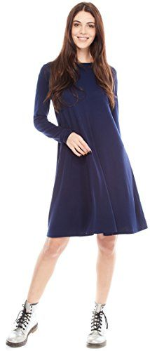 Certain Lady Womens Elegant Long Sleeve Loose Dress Perfect for Office  Casual or Semi Formal Style Navy Blue * Visit the image link more details. (This is an affiliate link) Casual Dresses For Women, Dresses For Work, Long Sleeve Tunic Dress, Knee Length Dresses, Cold Shoulder Dress, Discount Shopping, Women's Casual, Image Link, Navy Blue