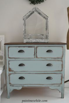 Blue Dresser - good distressing details on the drawers