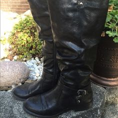 Black Boots These awesome black boots are so comfortable.  Perfect for wide calves.  They have zippers for easy wear. They are 17 1/2 in tall (includes heel).  All man made material. White Mountain Shoes Heeled Boots