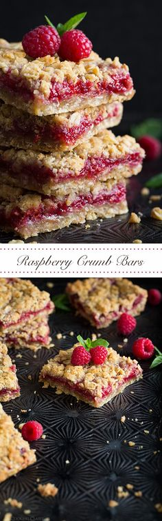 buttery oatmeal crumble topping and come together in around 30 minutes Perfect any time of year for parties potlucks and more raspberryThese easy Raspberry Bars have. Raspberry Bars, Raspberry Recipes, Just Desserts, Delicious Desserts, Dessert Recipes, Yummy Food, Brunch Recipes, Oatmeal Crumble Topping, Dessert Bars