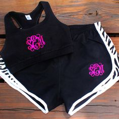 Freckle Fox Boutique / Glitter Monogram Sports Bra and Running Shorts Set - $45