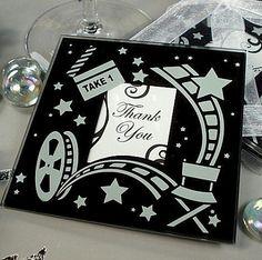 Movie Theme Photo Coaster Set  | Wedding Favor Discount