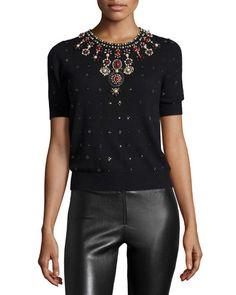 TALG9 Alice + Olivia Ros Short-Sleeve Knit Rhinestone Top, Black